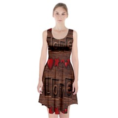 Background Romantic Love Wood Racerback Midi Dress