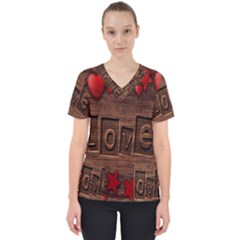 Background Romantic Love Wood Scrub Top