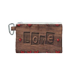 Background Romantic Love Wood Canvas Cosmetic Bag (small)