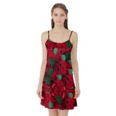 Floral Flower Pattern Art Roses Satin Night Slip