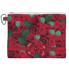 Floral Flower Pattern Art Roses Canvas Cosmetic Bag (xxl) by Sapixe