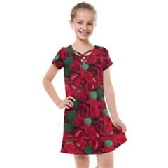 Floral Flower Pattern Art Roses Kids  Cross Web Dress