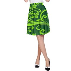 Background Texture Green Leaves A Line Skirt