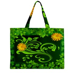 Background Texture Green Leaves Zipper Mini Tote Bag