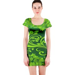 Background Texture Green Leaves Short Sleeve Bodycon Dress