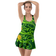 Background Texture Green Leaves Ruffle Top Dress Swimsuit