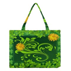 Background Texture Green Leaves Medium Tote Bag