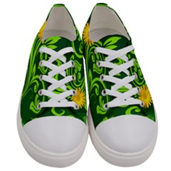 Background Texture Green Leaves Women s Low Top Canvas Sneakers