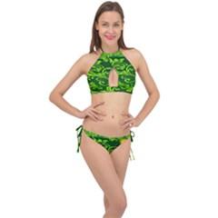 Background Texture Green Leaves Cross Front Halter Bikini Set