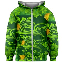 Background Texture Green Leaves Kids Zipper Hoodie Without Drawstring