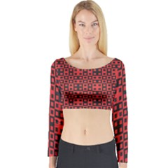 Abstract Background Red Black Long Sleeve Crop Top