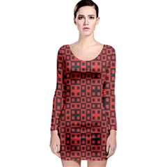 Abstract Background Red Black Long Sleeve Bodycon Dress