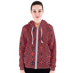Abstract Background Red Black Women s Zipper Hoodie