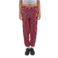 Abstract Background Red Black Women s Jogger Sweatpants