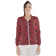 Abstract Background Red Black Windbreaker (women)
