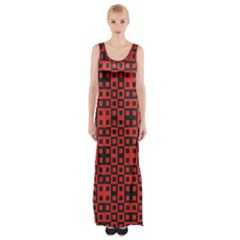 Abstract Background Red Black Maxi Thigh Split Dress