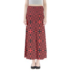 Abstract Background Red Black Full Length Maxi Skirt