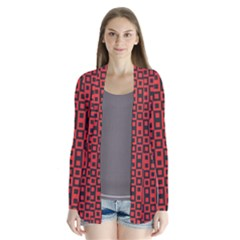 Abstract Background Red Black Drape Collar Cardigan