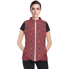 Abstract Background Red Black Women s Puffer Vest