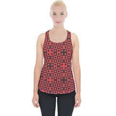 Abstract Background Red Black Piece Up Tank Top
