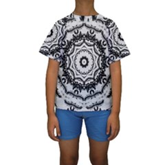 Abstract Pattern Fractal Kids  Short Sleeve Swimwear