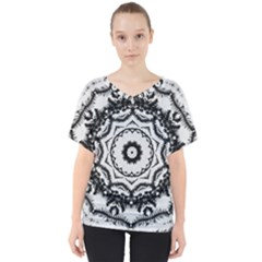 Abstract Pattern Fractal V Neck Dolman Drape Top