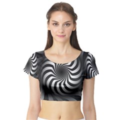 Art Optical Black White Hypnotic Short Sleeve Crop Top
