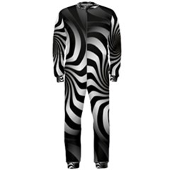 Art Optical Black White Hypnotic Onepiece Jumpsuit (men)
