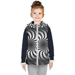 Art Optical Black White Hypnotic Kid s Hooded Puffer Vest