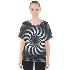 Art Optical Black White Hypnotic V Neck Dolman Drape Top