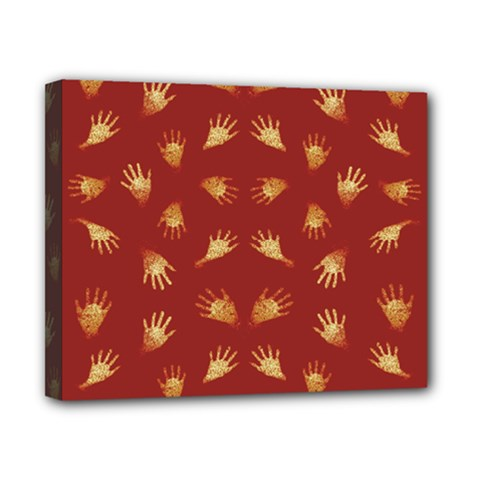 Primitive Art Hands Motif Pattern Canvas 10  X 8
