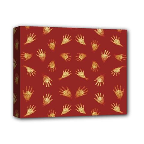 Primitive Art Hands Motif Pattern Deluxe Canvas 14  X 11