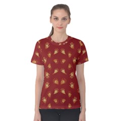 Primitive Art Hands Motif Pattern Women s Cotton Tee