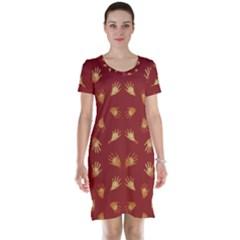 Primitive Art Hands Motif Pattern Short Sleeve Nightdress