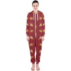 Primitive Art Hands Motif Pattern Hooded Jumpsuit (ladies)