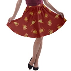 Primitive Art Hands Motif Pattern A Line Skater Skirt