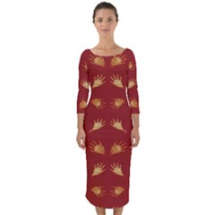 Primitive Art Hands Motif Pattern Quarter Sleeve Midi Bodycon Dress