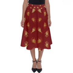 Primitive Art Hands Motif Pattern Perfect Length Midi Skirt
