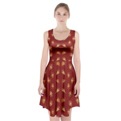 Primitive Art Hands Motif Pattern Racerback Midi Dress