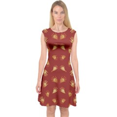 Primitive Art Hands Motif Pattern Capsleeve Midi Dress