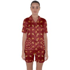 Primitive Art Hands Motif Pattern Satin Short Sleeve Pyjamas Set