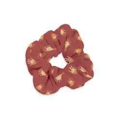Primitive Art Hands Motif Pattern Velvet Scrunchie
