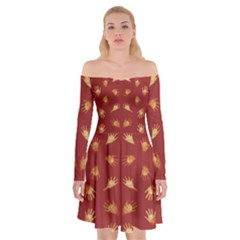 Primitive Art Hands Motif Pattern Off Shoulder Skater Dress