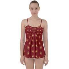 Primitive Art Hands Motif Pattern Babydoll Tankini Set