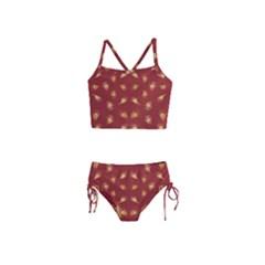 Primitive Art Hands Motif Pattern Girls  Tankini Swimsuit