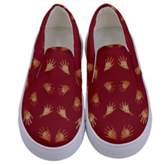 Primitive Art Hands Motif Pattern Kids  Canvas Slip Ons