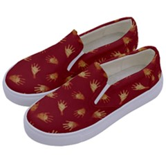 Primitive Art Hands Motif Pattern Kids  Canvas Slip Ons by dflcprints