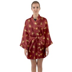 Primitive Art Hands Motif Pattern Long Sleeve Kimono Robe