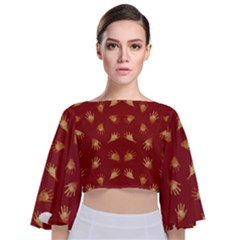 Primitive Art Hands Motif Pattern Tie Back Butterfly Sleeve Chiffon Top