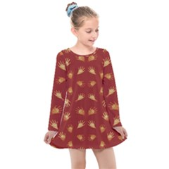 Primitive Art Hands Motif Pattern Kids  Long Sleeve Dress